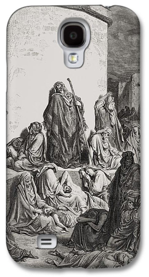 Wall Galaxy S4 Case featuring the painting The People Mourning Over The Ruins Of Jerusalem by Gustave Dore
