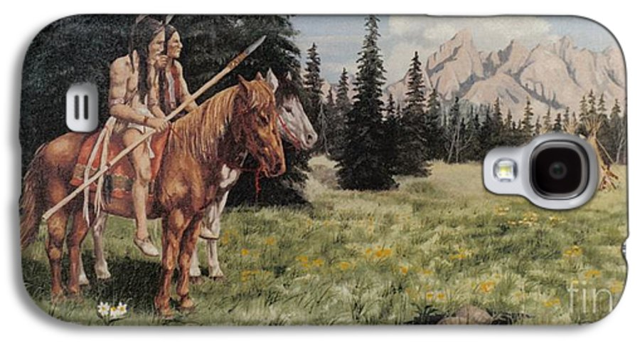 Landscape Galaxy S4 Case featuring the painting The Tetons Early Tribes by Wanda Dansereau
