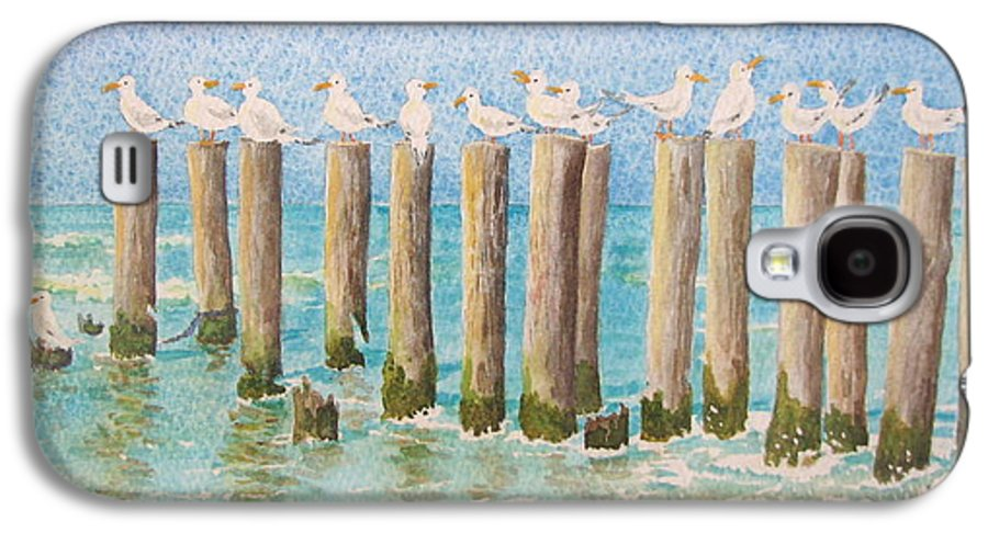Seagulls Galaxy S4 Case featuring the painting The Town Meeting by Mary Ellen Mueller Legault