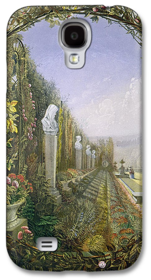 English Garden Galaxy S4 Case featuring the painting The Trellis Window Trengtham Hall Gardens by E Adveno Brooke