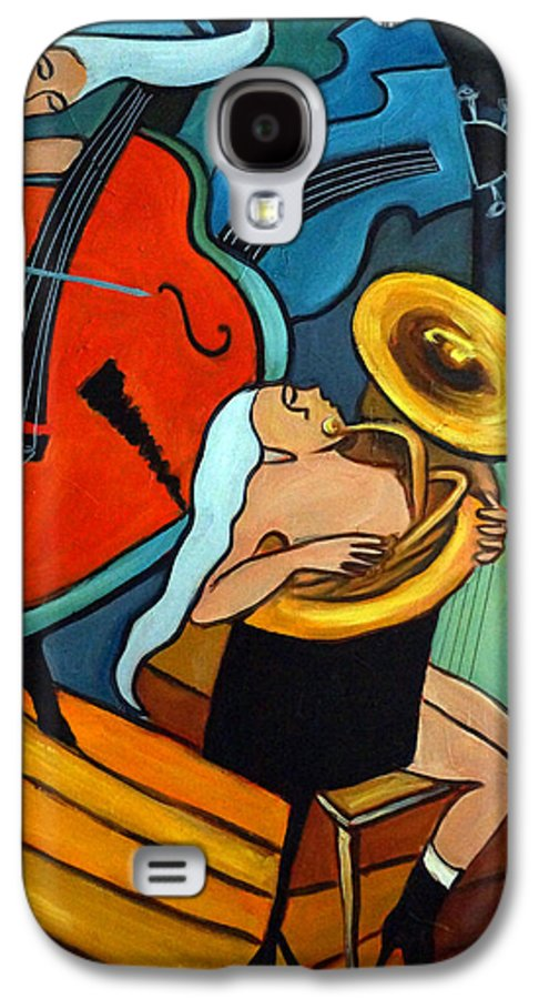 Musician Abstract Galaxy S4 Case featuring the painting The Tuba Player by Valerie Vescovi