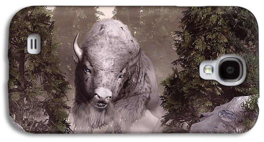 Buffalo Galaxy S4 Case featuring the digital art The White Buffalo by Daniel Eskridge