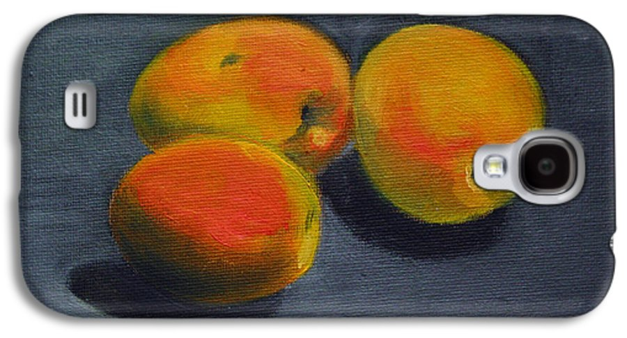 Food Galaxy S4 Case featuring the painting Three Apricots by Sarah Lynch