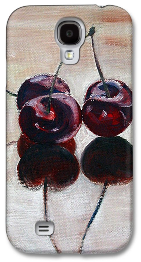 Food Galaxy S4 Case featuring the painting Three Cherries by Sarah Lynch