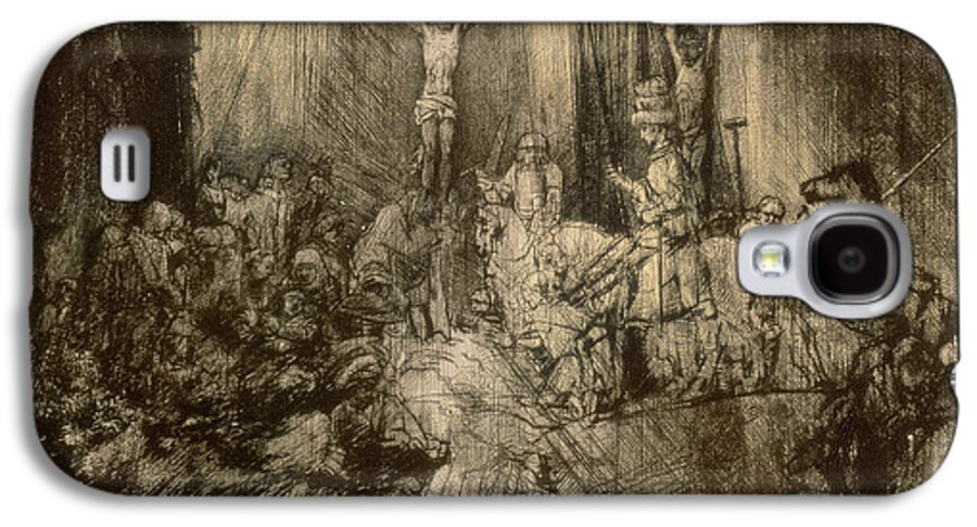Christ Galaxy S4 Case featuring the drawing Three Crucifixes by Rembrandt Harmenszoon van Rijn