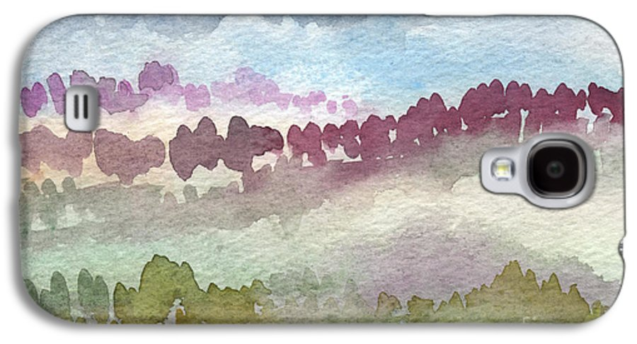 Abstract Landscape Galaxy S4 Case featuring the painting Through The Trees by Linda Woods