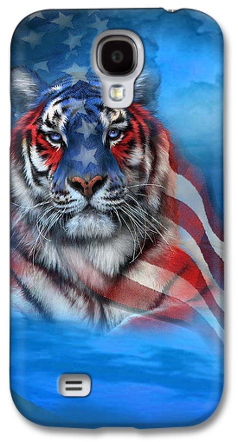 Carol Cavalaris Galaxy S4 Case featuring the mixed media Tiger Flag by Carol Cavalaris