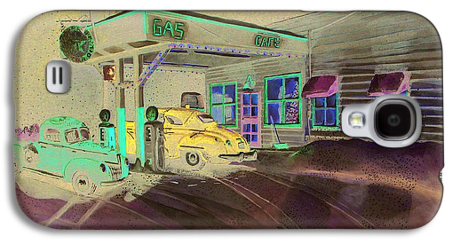 Rick Huotari Galaxy S4 Case featuring the painting Times Past Gas Station by Rick Huotari