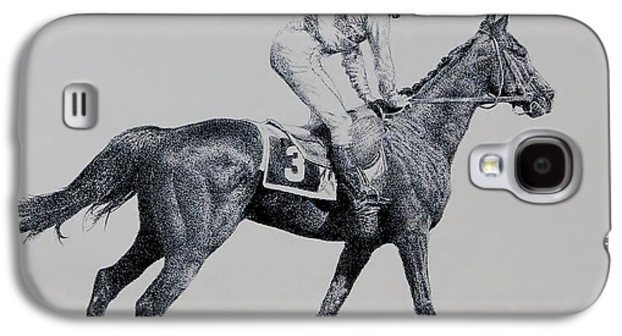 Racehorse Horse Horseracing Thorobreds Jockey Galaxy S4 Case featuring the drawing To The Gate by Tony Ruggiero