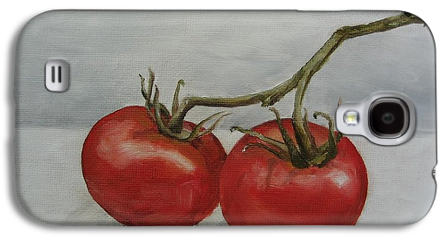 Oil Galaxy S4 Case featuring the painting Tomatoes On Vine by Jindra Noewi