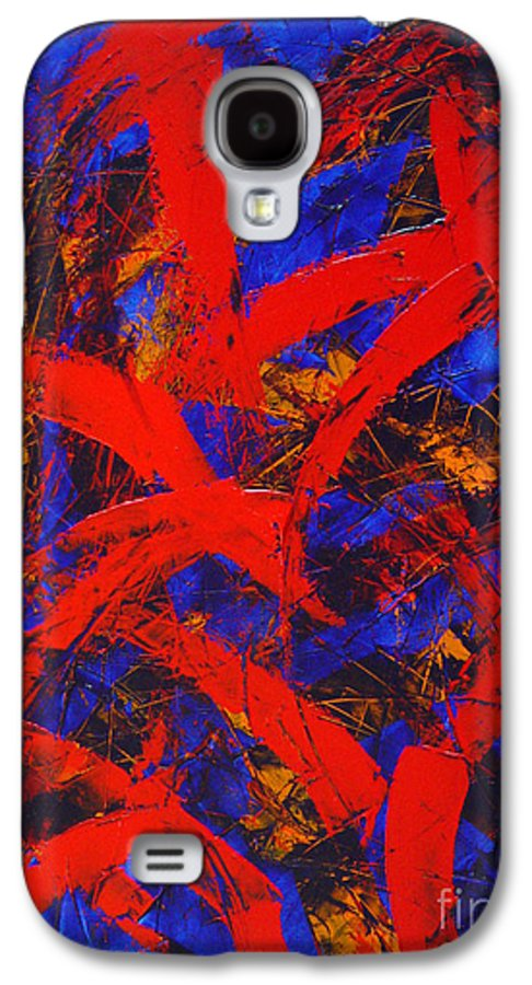 Abstract Galaxy S4 Case featuring the painting Transitions With Blue And Red by Dean Triolo