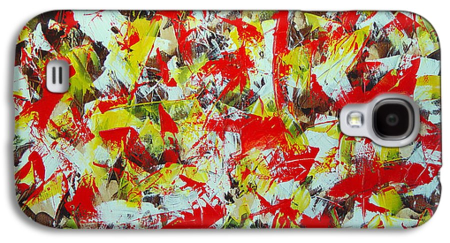 Abstract Galaxy S4 Case featuring the painting Transitions With Yellow Brown And Red by Dean Triolo