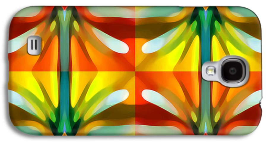 Abstract Galaxy S4 Case featuring the painting Tree Light Square Pattern by Amy Vangsgard