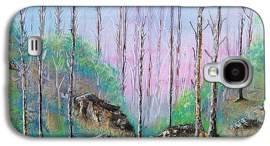 Landscape Galaxy S4 Case featuring the painting Trees With Cuatro by Tony Rodriguez