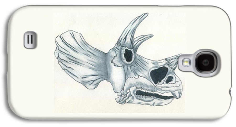 Dinosaur Galaxy S4 Case featuring the drawing Tricerotops Skull by Micah Guenther