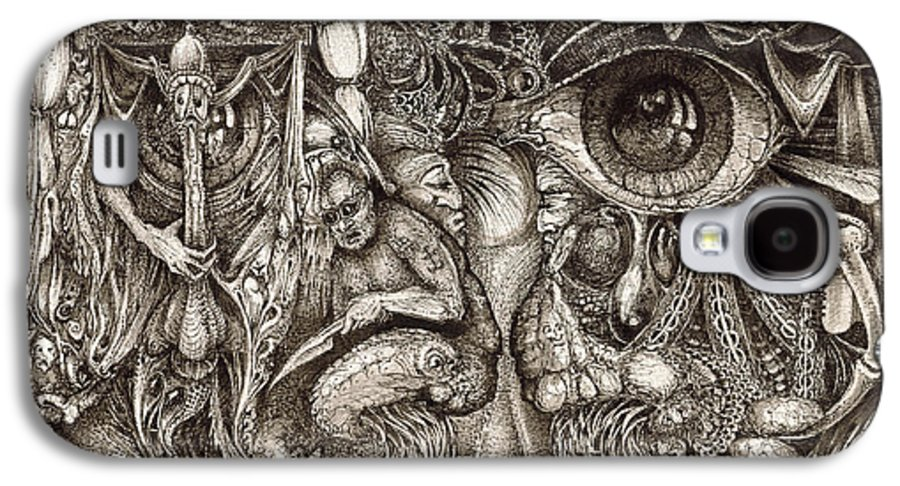 Surreal Galaxy S4 Case featuring the drawing Tripping Through Bogomils Mind by Otto Rapp