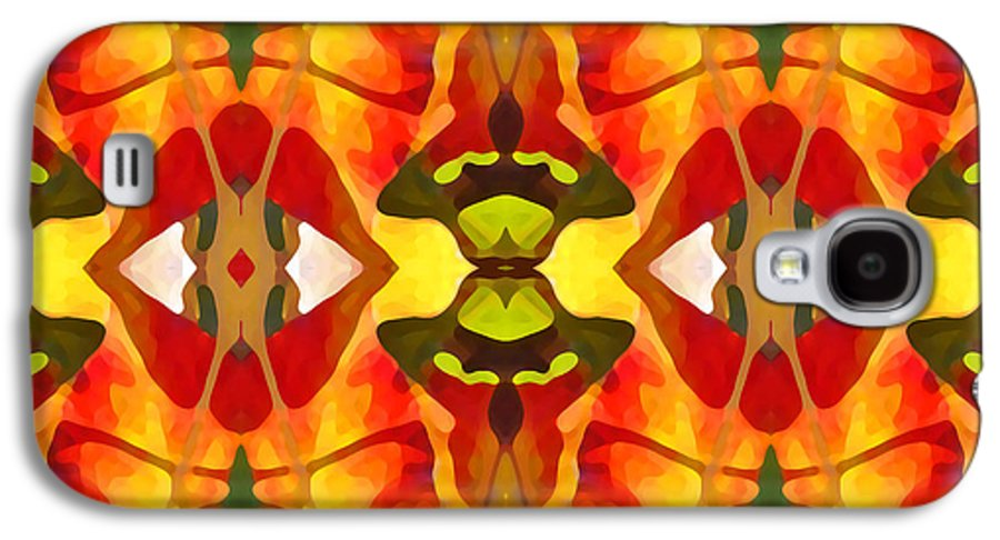 Abstract Galaxy S4 Case featuring the painting Tropical Leaf Pattern 2 by Amy Vangsgard