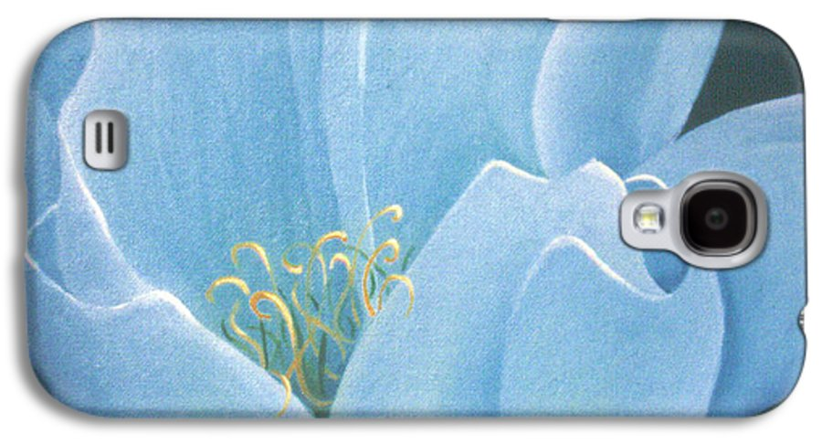 Turquoise Galaxy S4 Case featuring the painting Turquoise Waterlily by Christina Rahm Galanis