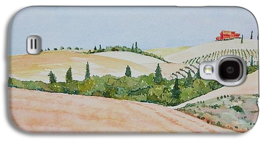 Landscape Galaxy S4 Case featuring the painting Tuscan Hillside One by Mary Ellen Mueller Legault