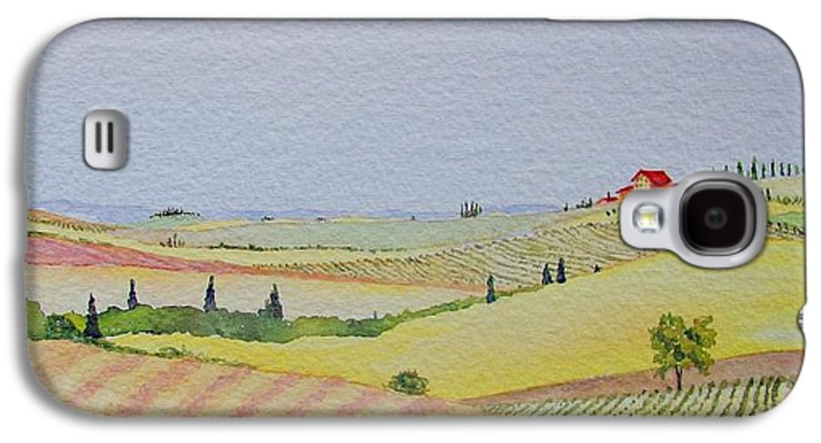 Watercolor Galaxy S4 Case featuring the painting Tuscan Hillside Three by Mary Ellen Mueller Legault