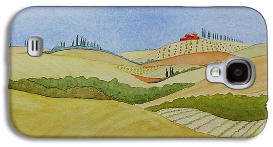 Italy Galaxy S4 Case featuring the painting Tuscan Hillside Two by Mary Ellen Mueller Legault