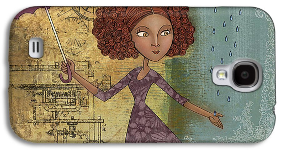 Girl Galaxy S4 Case featuring the drawing Umbrella Girl by Karyn Lewis Bonfiglio