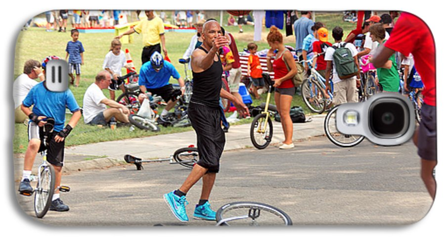 Unicycle Galaxy S4 Case featuring the photograph Unicyclist - Basketball - Street Rules by Mike Savad