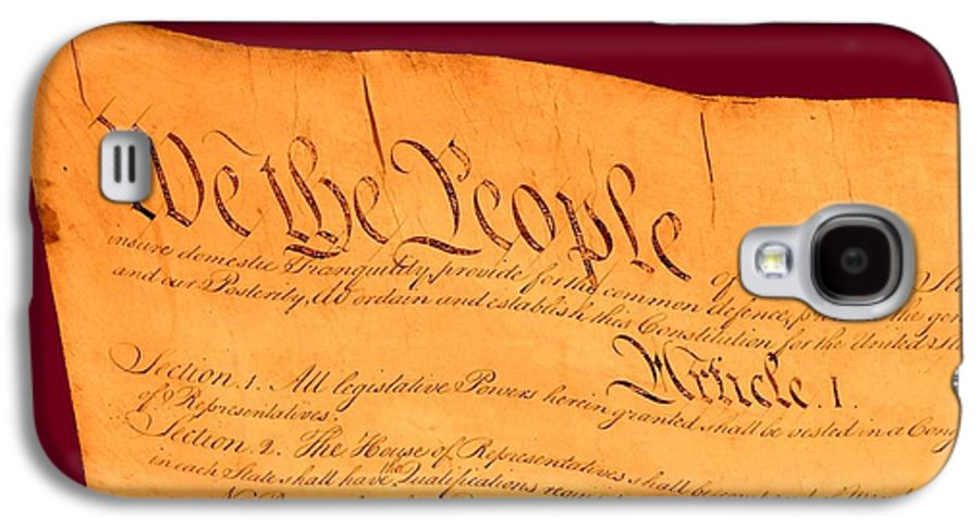 13 Galaxy S4 Case featuring the drawing Us Constitution Closest Closeup Violet Red Background by L Brown