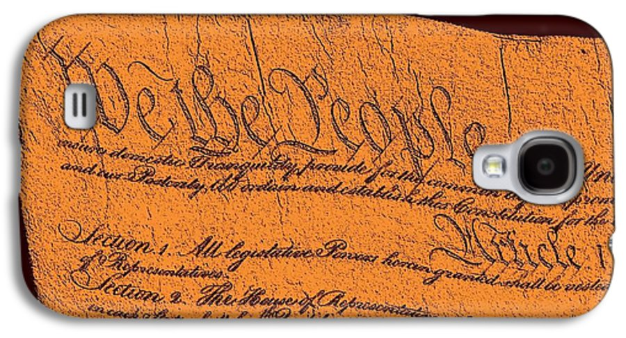 13 Galaxy S4 Case featuring the drawing Us Constitution Closeup Sculpture Red Brown Background by L Brown
