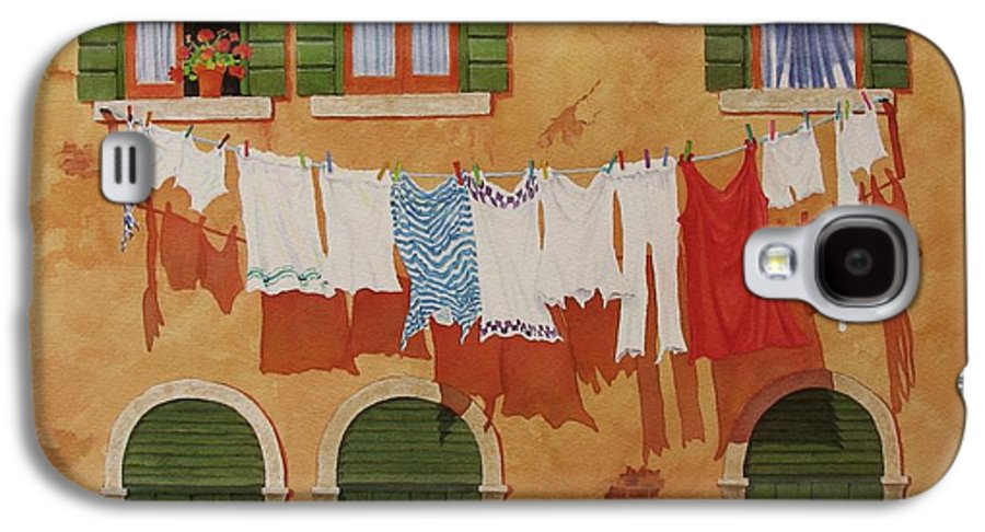 Venice Galaxy S4 Case featuring the painting Venetian Washday by Mary Ellen Mueller Legault