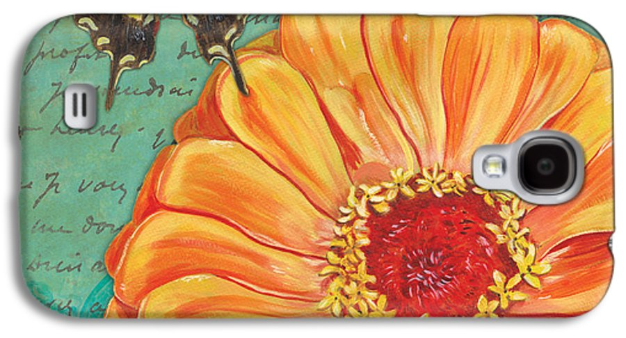 Floral Galaxy S4 Case featuring the painting Verdigris Floral 1 by Debbie DeWitt