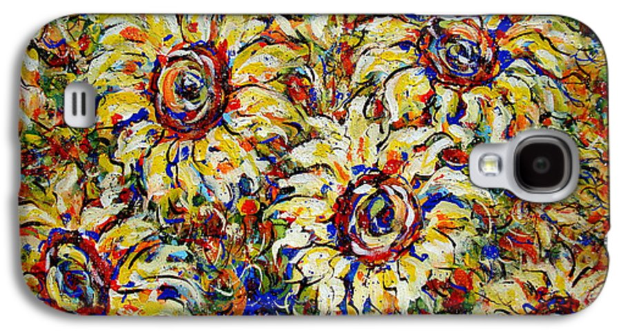 Flowers Galaxy S4 Case featuring the painting Vibrant Sunflower Essence by Natalie Holland