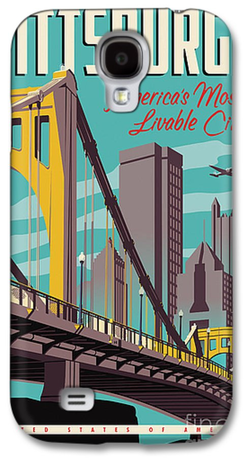 Pittsburgh Galaxy S4 Case featuring the digital art Pittsburgh Poster - Vintage Travel Bridges by Jim Zahniser