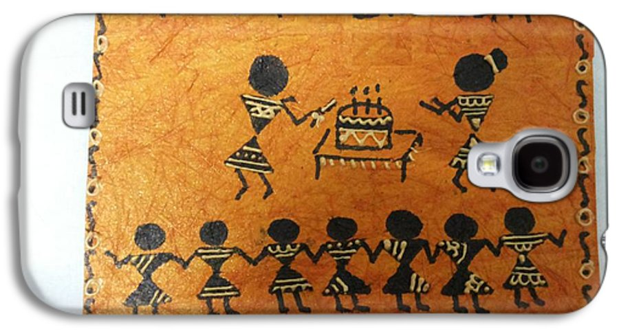 Warli Is An Ancient Tradition Of Painting. Trademark Of Warli Is The Use Of Geometric Designs Such As Triangles Galaxy S4 Case featuring the painting Warli Birthday by Deepika B
