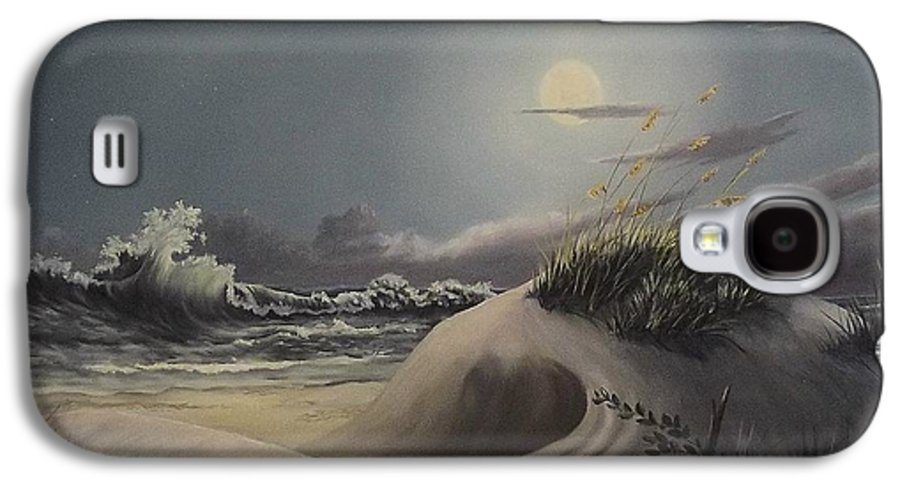 Landscape Galaxy S4 Case featuring the painting Waves And Moonlight by Wanda Dansereau