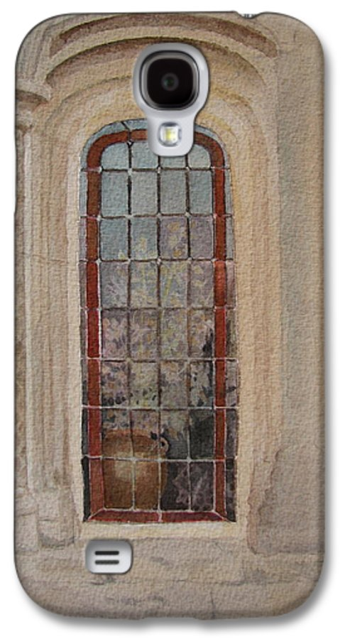 Window Galaxy S4 Case featuring the painting What Is Behind The Window Pane by Mary Ellen Mueller Legault