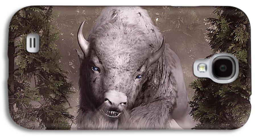 Bison Galaxy S4 Case featuring the digital art White Buffalo by Daniel Eskridge