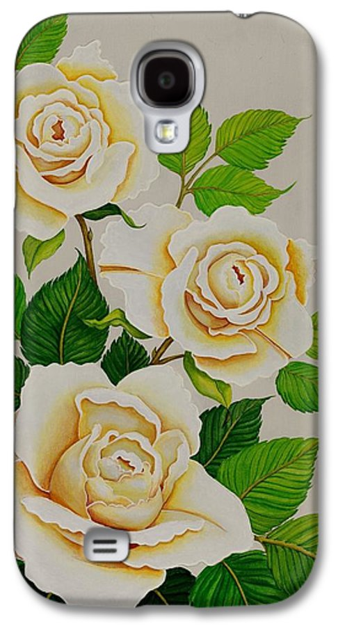 White Roses With Yellow Shading On A White Background. Galaxy S4 Case featuring the painting White Roses - Vertical by Carol Sabo