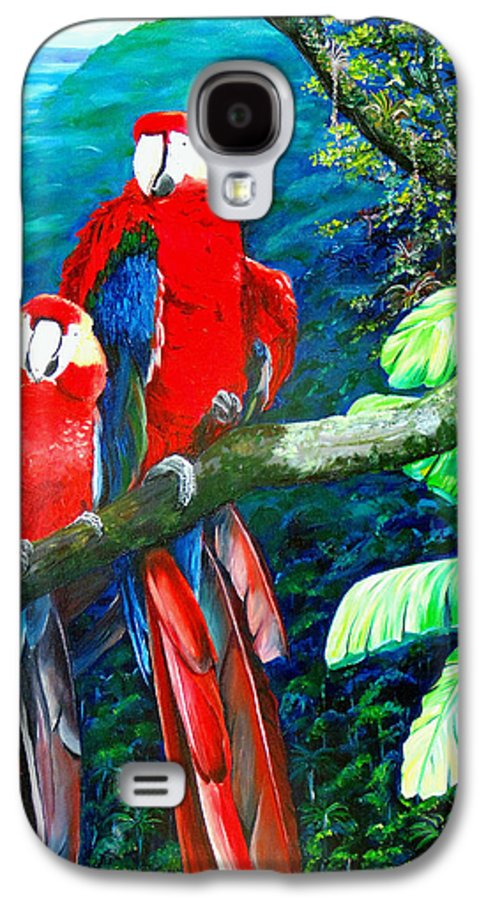 Caribbean Painting Green Wing Macaws Red Mountains Birds Trinidad And Tobago Birds Parrots Macaw Paintings Greeting Card  Galaxy S4 Case featuring the painting Who Me  by Karin Dawn Kelshall- Best