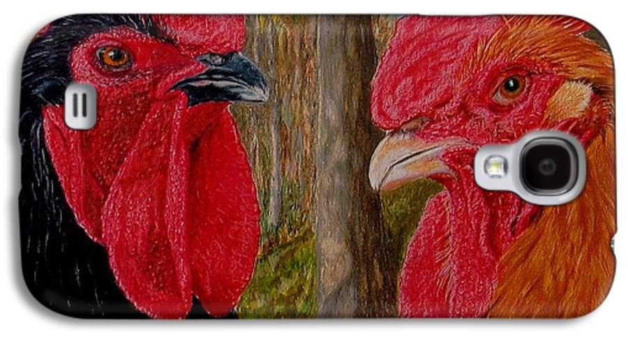Roosters Galaxy S4 Case featuring the painting Who You Calling Chicken by Karen Ilari