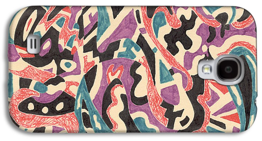 Wild Tribal Abstract Drawing Original Red Cream Black Teal Blue Purple Pattern Movement Rlmdesignes Galaxy S4 Case featuring the drawing Wild by Rebekah McLeod