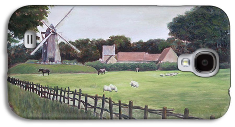 Farm Galaxy S4 Case featuring the painting Windmill On Farm by Jennifer Lycke