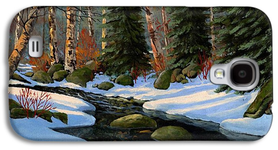 Landscape Galaxy S4 Case featuring the painting Winter Brook by Frank Wilson