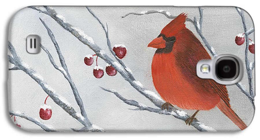 Winter Galaxy S4 Case featuring the painting Winter Cardinal by Peter Miles