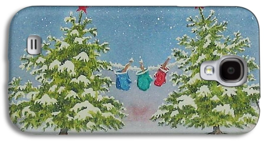 Fun Galaxy S4 Case featuring the painting Winter Is Fun by Mary Ellen Mueller Legault