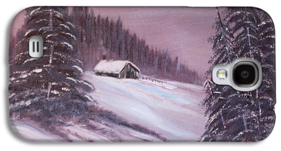 Landscape Galaxy S4 Case featuring the painting Winter Moon by Janice Rae Pariza