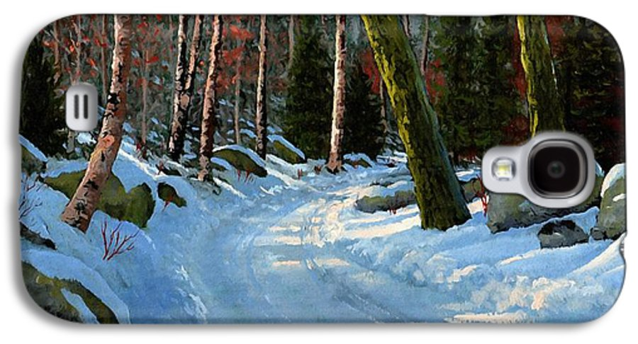 Landscape Galaxy S4 Case featuring the painting Winter Road by Frank Wilson