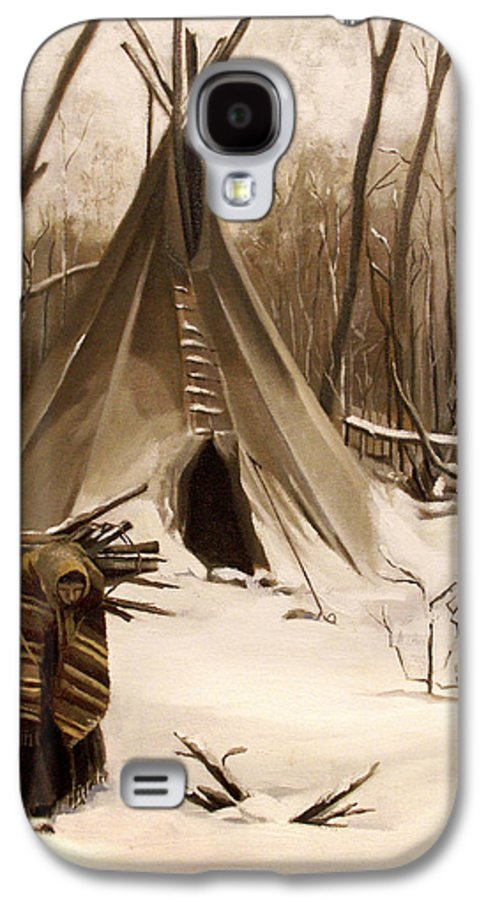 Native American Galaxy S4 Case featuring the painting Wood Gatherer by Nancy Griswold