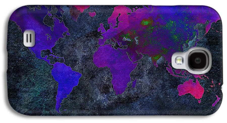 Andee Design Map Galaxy S4 Case featuring the digital art World Map - Purple Flip The Dark Night - Abstract - Digital Painting 2 by Andee Design