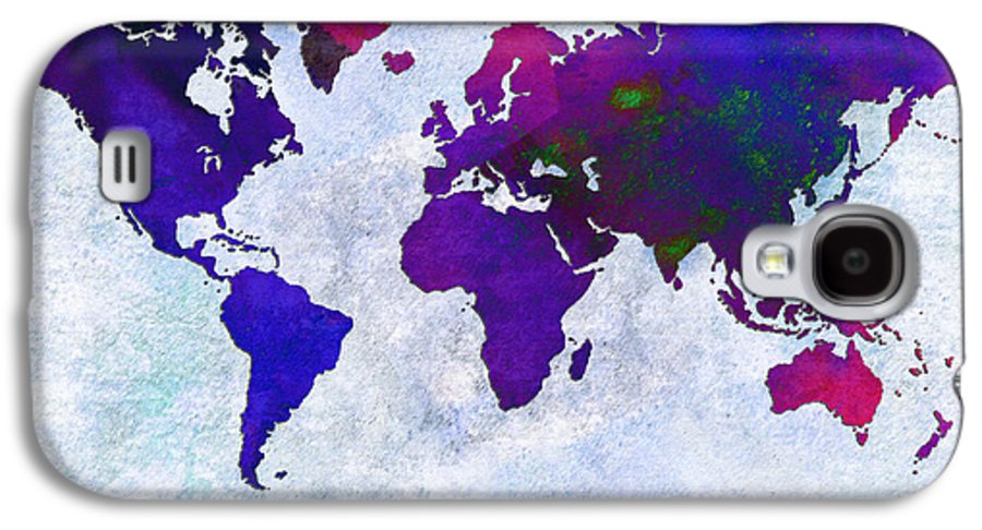 Abstract Galaxy S4 Case featuring the digital art World Map - Purple Flip The Light Of Day - Abstract - Digital Painting 2 by Andee Design
